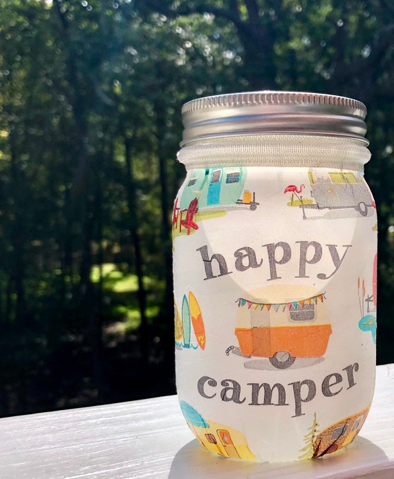Happy retro camper lighted jar, lighted jars, lighted bottles, jar lights, glamping, retro campers, fun decor
