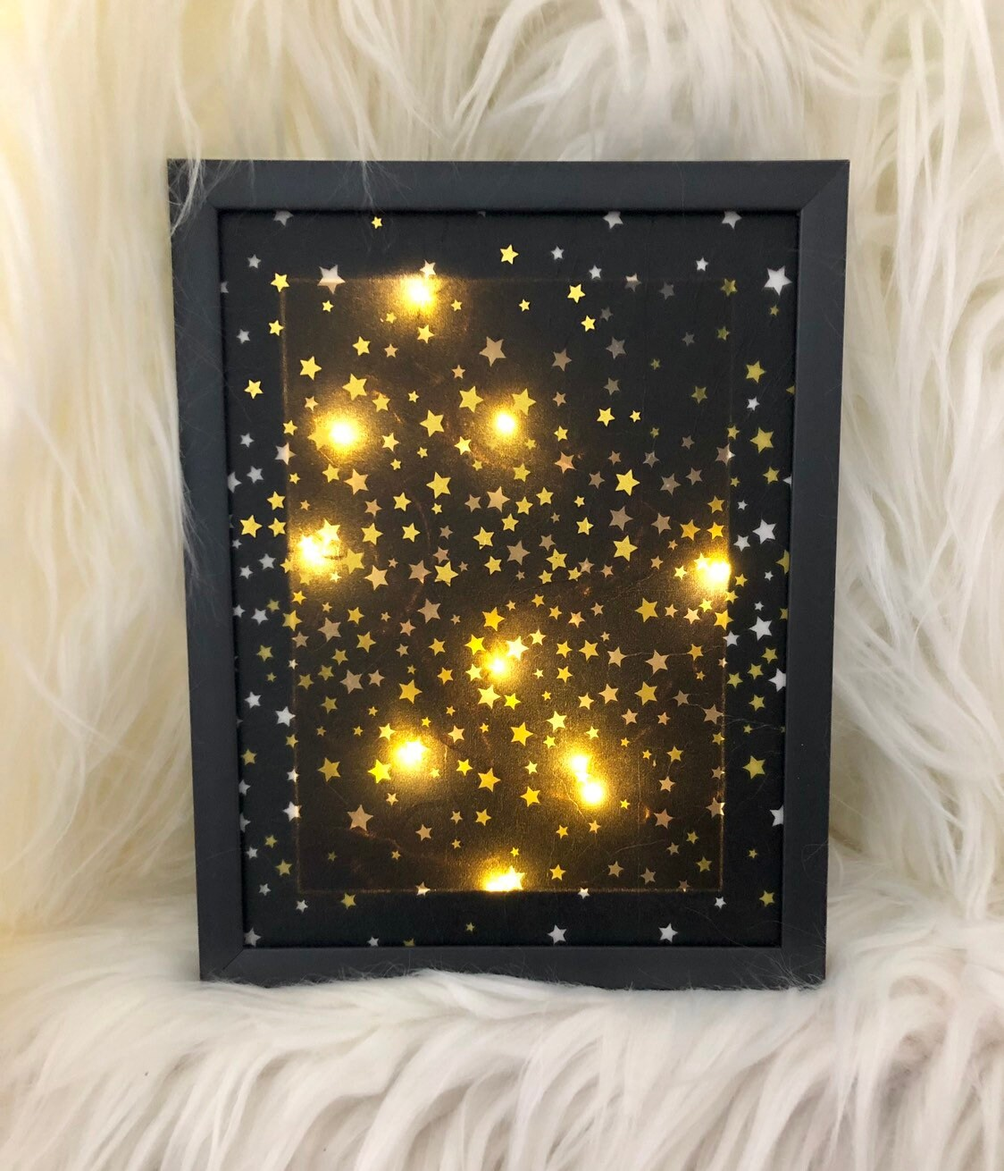 Lighted Picture Frame With Stars Lighted Star Frame Lighted Gifts Lighted Frames Tabletop Decor Wall Decor