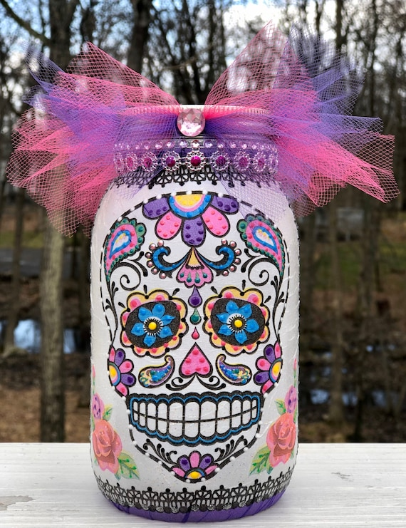 Purple and pink lighted sugar skull jar, lighted jars, lighted bottles, sugar skull jars, sugar skull decor, dia de Los muertos jars