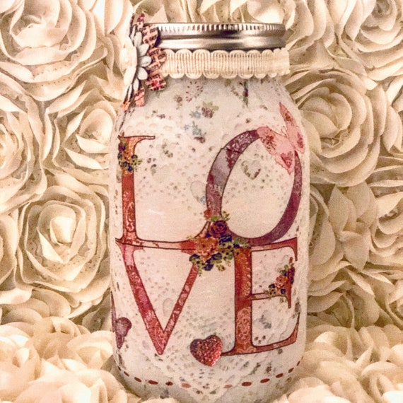 White lighted love jar, lighted jars, lighted bottles, jar lights, valentine's jars, love jar
