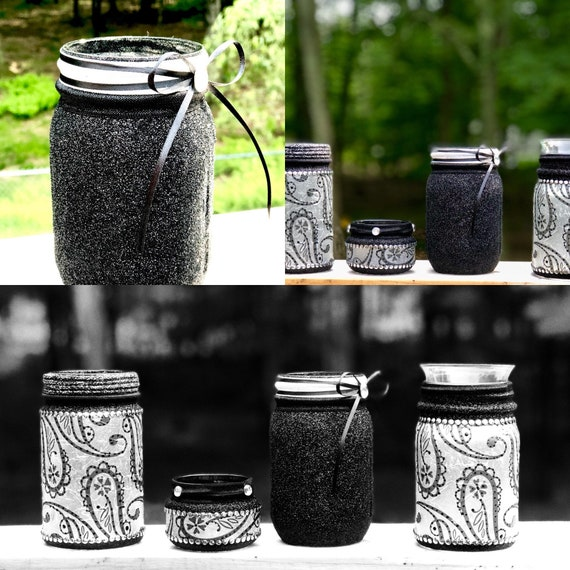 Lighted jars, lighted glitter jars, lighted bottles, paisley jars, printed mason jars, glitter mason jars