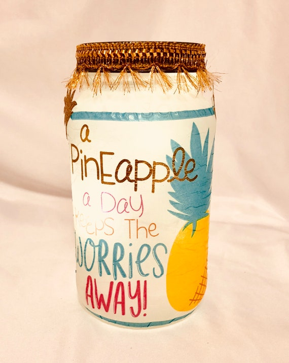 Pineapple jar, lighted bottles, lighted jars, mason jars, pineapple decor