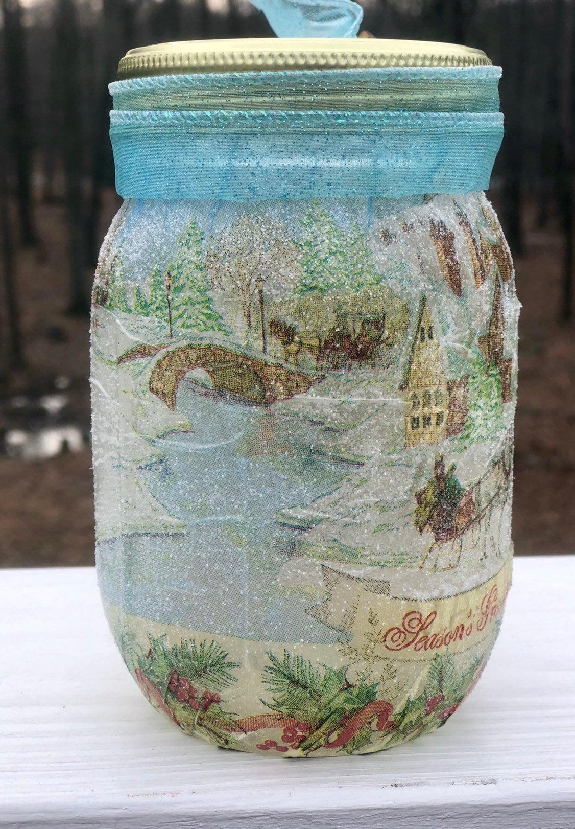 Seasons greetings lighted jar, lighted jars, lighted bottles, jar