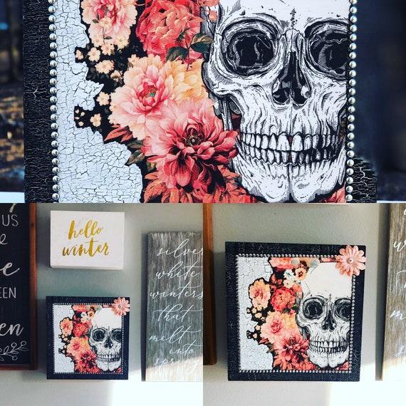 Sugar skull wooden box, lighted jars, lighted bottles, sugar skull wall decor, wall box decor, sugar skulls