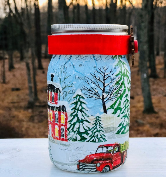 Lighted red truck in town jar, lighted jars, lighted bottles, jar lights, red truck jar, Christmas jars, Christmas decor
