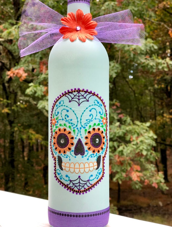 Light teal purple and orange sugar skull lighted bottle, lighted jars, lighted bottles, bottle lights, sugar skull decor, dia de los muertos