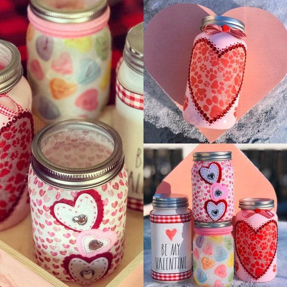 Valentine's lighted jars, candy hearts jar, be my valentine jar, paw heart jar, just hearts jar, jar lights, lighted bottles
