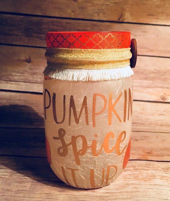 Pumpkin spice lighted mason jar, lighted bottles, Thanksgiving jars, pumpkin spice jar