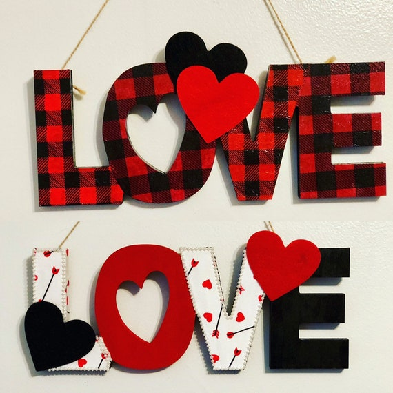Love wall hanging sign, wooden sign decor, love sign, decoupaged sign, valentines decor