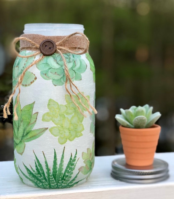 Succulent jar, lighted succulent jar, lighted jars, lighted bottles, jar lights, succulent decor