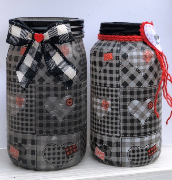 Checkered quilt lighted hearts jar, lighted jars, lighted bottles, jar lights, valentine's jars