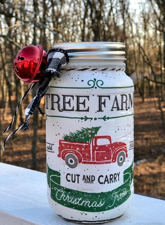 Tree farm lighted red truck jar, lighted jars, lighted bottles, jar lights, lighted Christmas jars, Christmas jars, Christmas decor