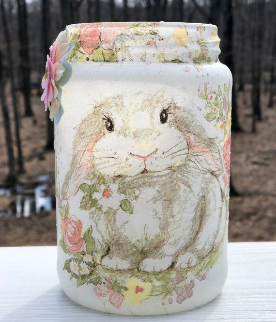 Gentle bunny lighted jar, lighted jars, lighted bottles, jar lights, bunny jar, Easter jar