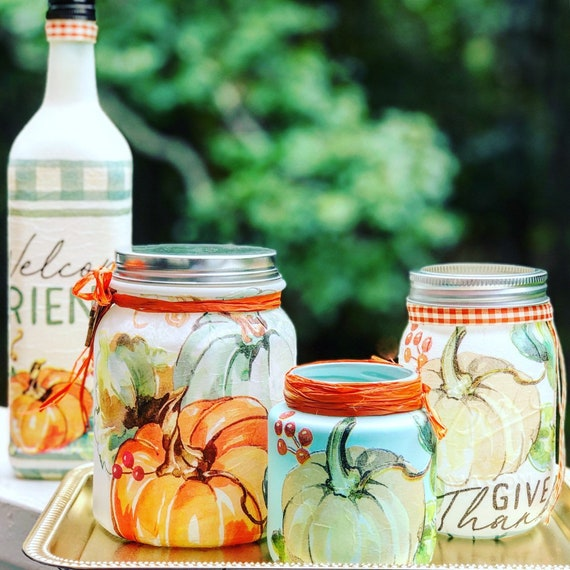 Welcome friends and give thanks lighted jar set, lighted jars, lighted bottles, jar lights, fall decor, give thanks decor