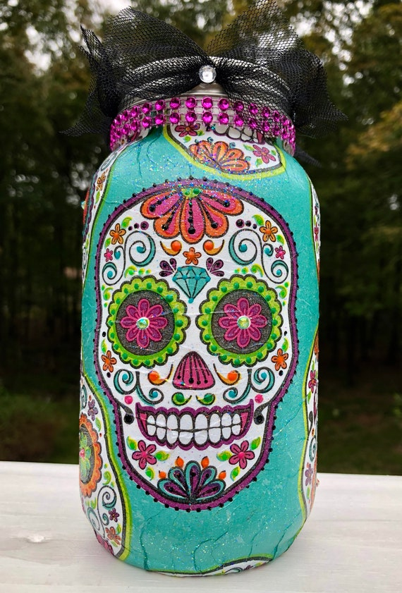 Lighted teal sugar skull jar, lighted jars, lighted bottles, sugar skulls, candy skulls, Halloween lighted jars, day of the dead