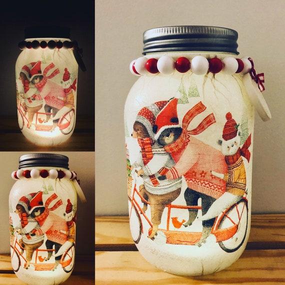 A beary merry Christmas lighted jar, lighted jars, lighted bottles, jar lights, lighted Christmas jars, Christmas jars, lighted bear jar