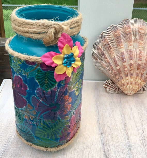 Teal hibiscus jar candleholder, tropical theme bottle