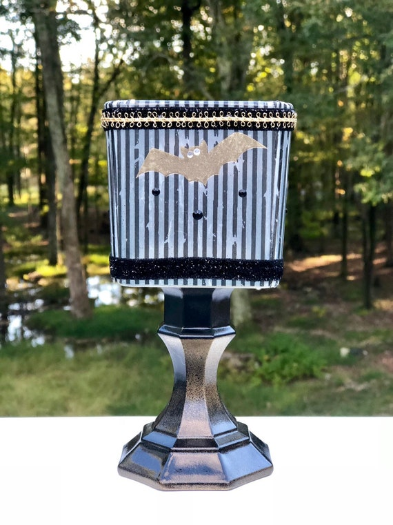 Bat lighted jar, lighted jars, lighted bottles, tea light candle holder, bat decor, Halloween decor