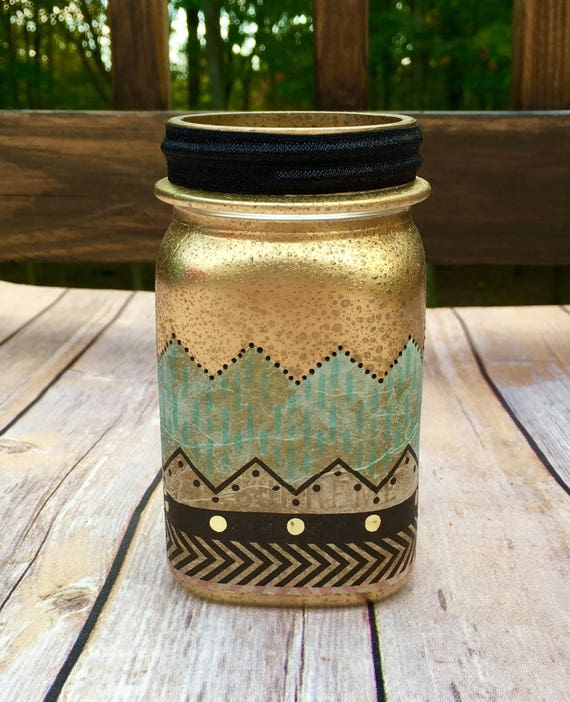 Lighted gold jar, Gold jar, mercury glass jar, lighted bottles, night light jar, lighted jars