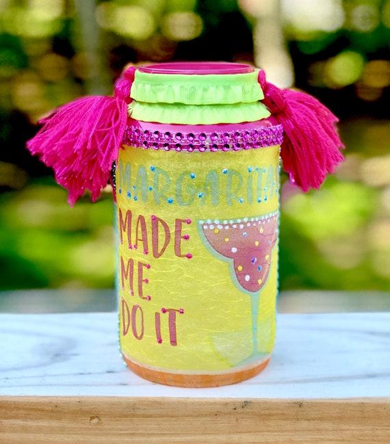 Margarita lighted jar, lighted jars, lighted bottles, summer decor, margarita jar