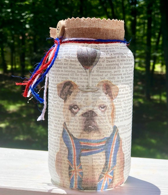 Royal dog lighted jar, lighted jars, lighted bottles, bulldog jar, jar lights