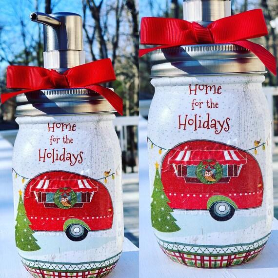 Red camper Christmas soap dispenser, lighted jars, lighted bottles, Christmas decor, Christmas lotion dispenser, red camper jar