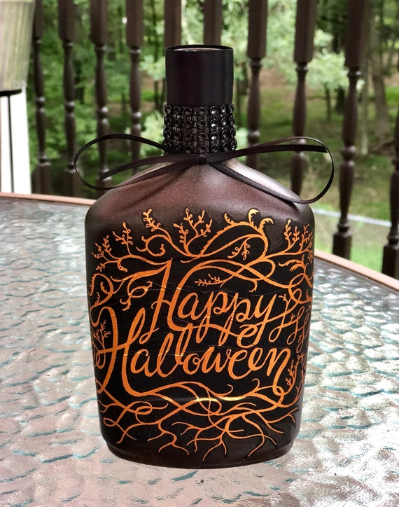 Halloween lighted bottle, lighted bottles, lighted jars, Halloween decor
