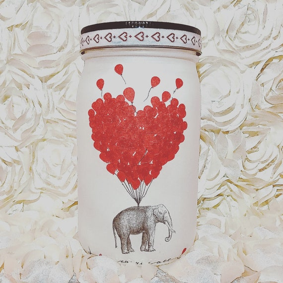 Elephant love balloons lighted jar, lighted jars, lighted bottles, valentine's jars, elephant jar