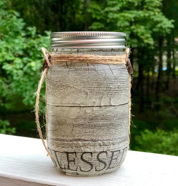 Blessed lighted jar, lighted jars, lighted bottles, jar lights, blessed jar, rustic jar, country jar, rustic blessed decor