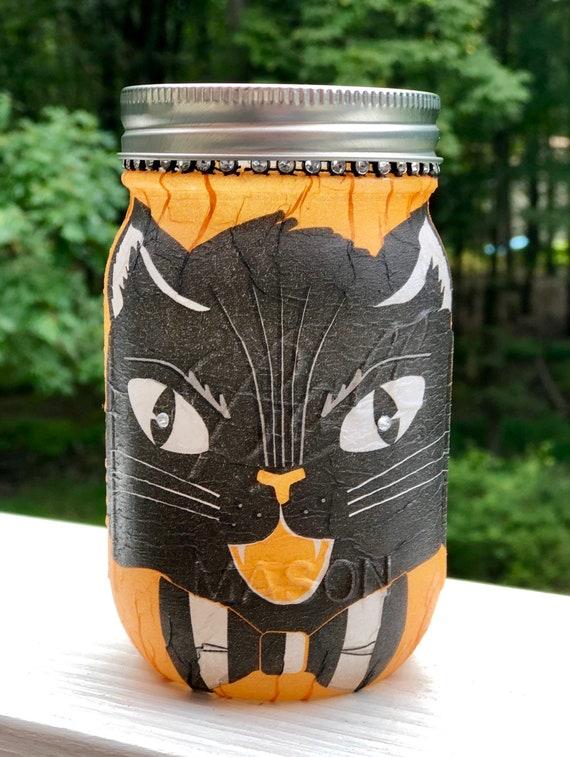 Lighted black cat jar, lighted jar, lighted bottles , jar lights, black Halloween cat jar, Halloween decor, vintage Halloween decor