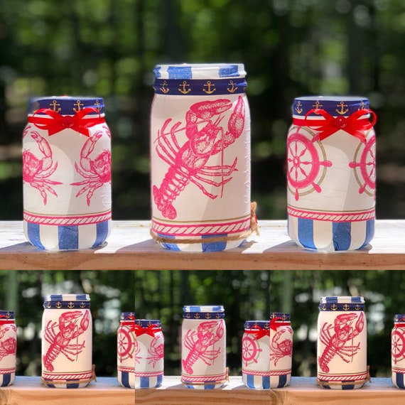 Seafood festival jar, lighted jars, lighted bottles, jar lights, nautical jars, jar set