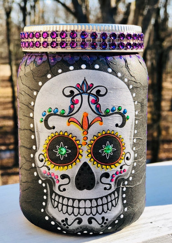 green eyed lighted sugar skull jar, lighted sugar skull jar, candy skull jar, sugar skull decor, lighted jars, dia de Los muertos
