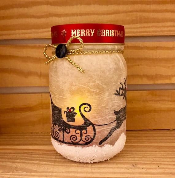 Sled lighted jar, lighted jars, lighted bottles, jar lights, Christmas lighted jars, Christmas decor, sled jar, reindeer jar