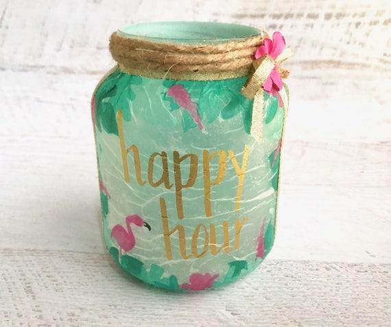 Happy hour lighted jar, lighted jars, lighted bottles, lighted flamingo jar, jar lights, tropical decor jar