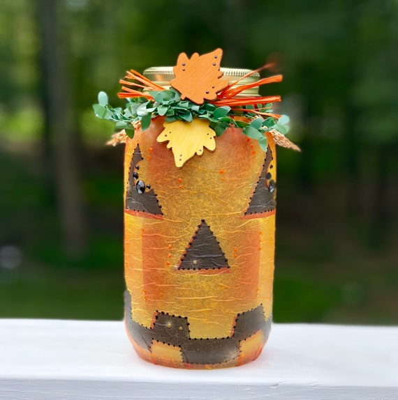 Jack o lantern lighted jar, lighted jars, lighted bottles, pumpkin jar, Halloween decor, fall lighted jar, jar lights