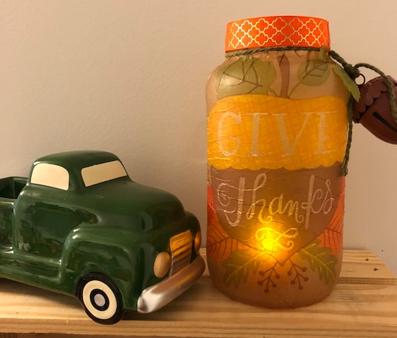 Give thanks lighted jar, lighted jars, lighted bottles, Thanksgiving lighted jars, Thanksgiving decor, jar lights