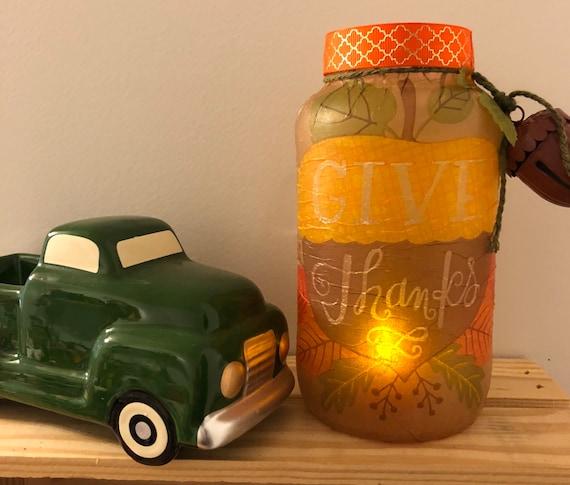 Give thanks lighted jar, lighted jars, lighted bottles, Thanksgiving lighted jars, Thanksgiving decor, jar lights