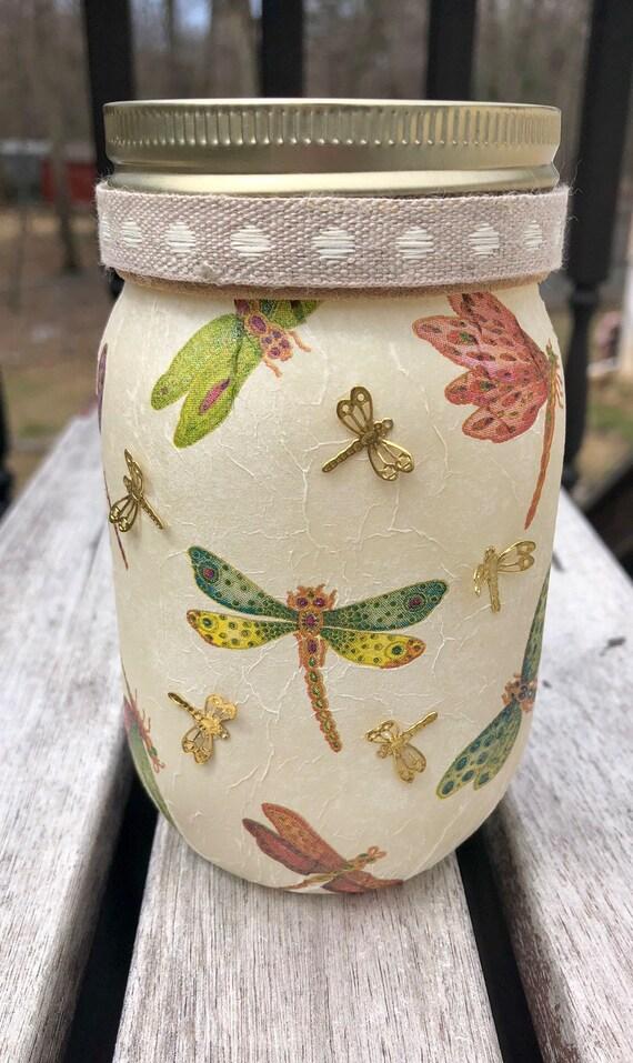 Lighted dragonfly jar, lighted jars, lighted bottles, dragonfly jar