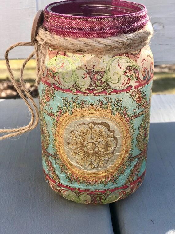 Bohemian style lighted jar, lighted jars, lighted bottles, bohemian decor, jar lights, bohemian jars