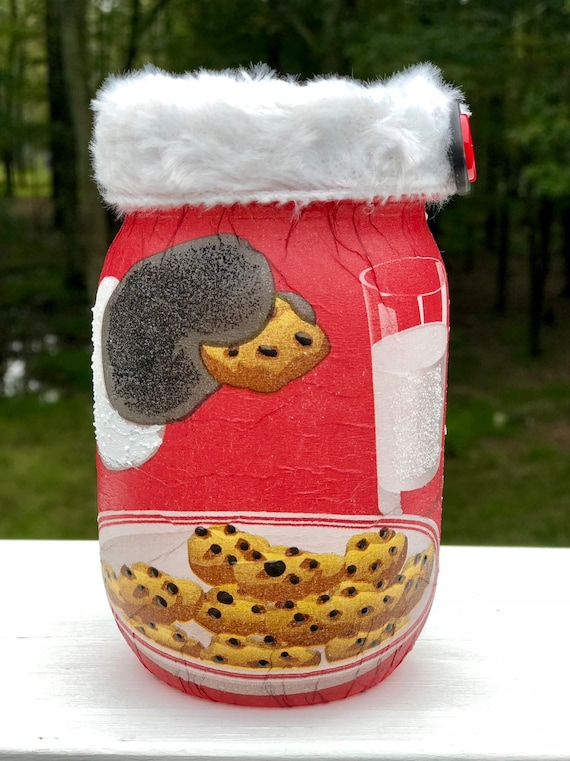 Santa cookie lighted jar, lighted jars, lighted bottles, santa jar, Christmas decor, Christmas lighted jars, jar lights
