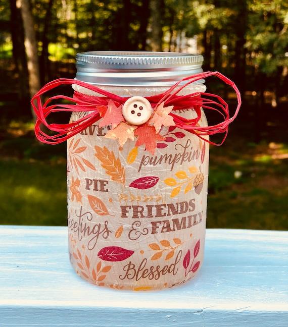 Fall treasures lighted jar, lighted jars, lighted bottles, fall jar decor, jar lights