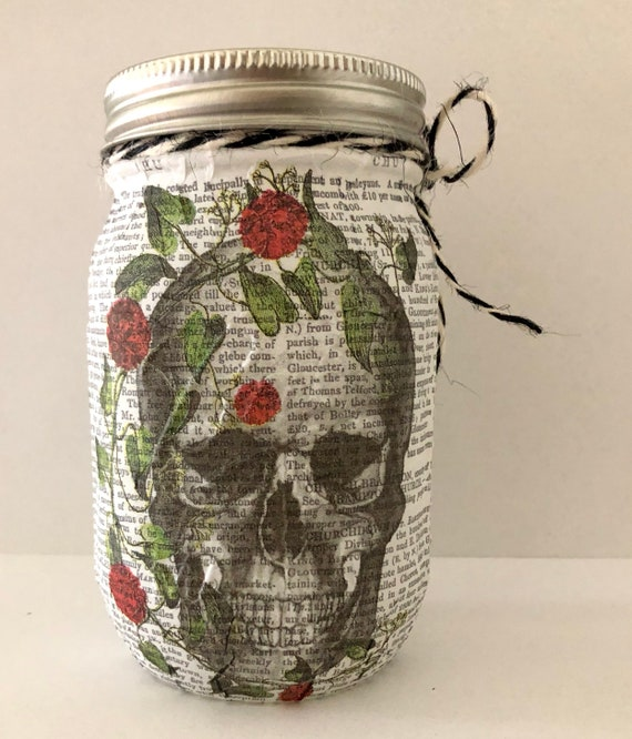 Rose skull lighted jar, lighted jars, lighted bottles, jar lights, sugar skull jars, skull jars, jar lights