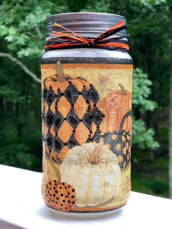 Lighted Patterned pumpkin jar, lighted jars, lighted bottles, jar lights, pumpkin jar, fall jar decor, Halloween decor