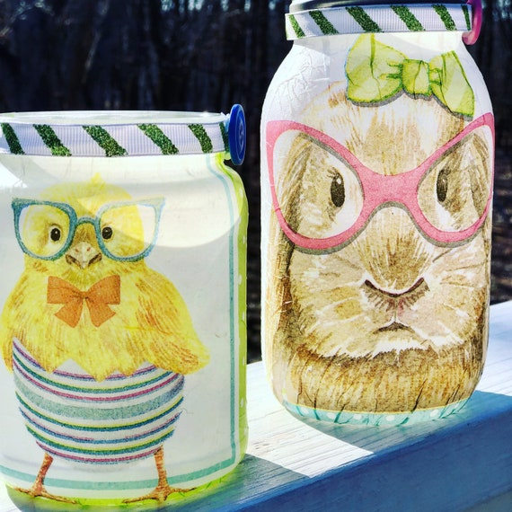 Smart bunny and chick lighted jar set, lighted jars, lighted bottles, jar lights, Easter jars
