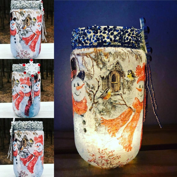 Mr and Mrs frosty lighted jar, lighted jars, lighted bottles, lighted Christmas jars, Christmas jars, jar lights, snowman jar
