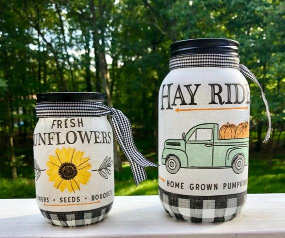 Pickup truck and sunflower lighted jars, lighted jars, lighted bottles, jar lights, fall decor, lighted fall jars