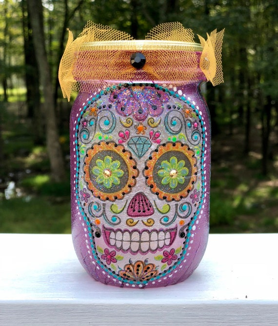 Sugar skull lighted jar, lighted jars, lighted bottles, sugar skull jar, candy skull jar, day of the dead jar, dia de los muertos jar