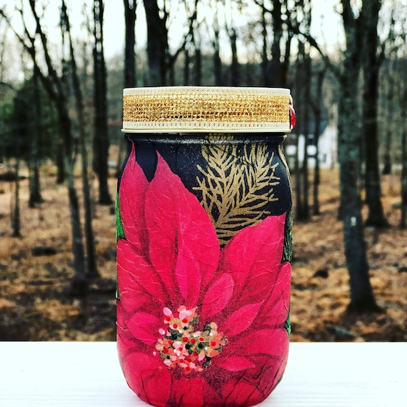 Lighted classy poinsettia jar, lighted jars, lighted bottles, Christmas jars, jar lights, Christmas decor, poinsettia jar