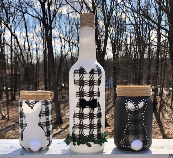 Buffalo check lighted bunny jars and bottle, lighted jars, lighted bottles, jar lights, Easter decor, bunny decor