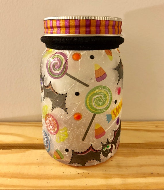 Bat lighted jar, lighted jars, lighted bottles, Halloween lighted jars, Halloween decor, bat and candy jar